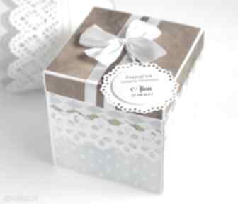 Exploding box chrzest scrapbooking kartki biala konwalia box