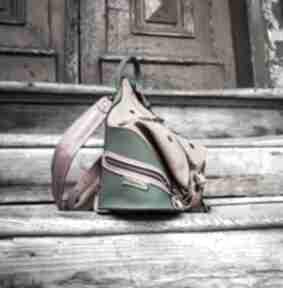 Kolorowy skórzany plecak i torebka na ramię w jednym rozmiar