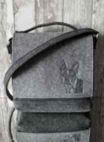 Filcowa torba - haftowany buldog torebki happyart torba, haft