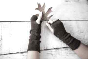 Mitenki brązowe rękawiczki hermina wełniane, bez palców, zimowe