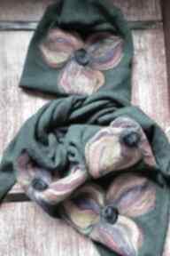Komplet wełniany turkus wełna merynosy kwiaty - z kwiatami