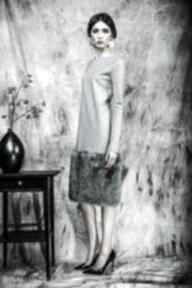 Zimowa sukienka z futrem sukienki kasia miciak design sukienka