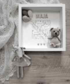 Metryczka narodzin dziecka - różowy miś pokoik metrique