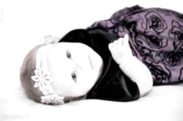 Opaska dla dziewczynki kwiatuszkami opaski prezent chrzest wlosy