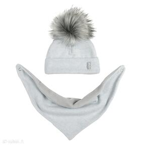 Komplet zimowy czapka pomponem chusta podszyty polarem kolor