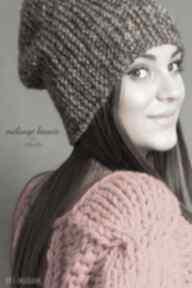 Czapka #32 czapki mondu czapka, na drutach, alpaka, melanżowa