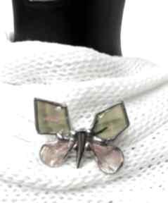 Broszka: wesoły motyl malowany broszki witrazka broszka motyl