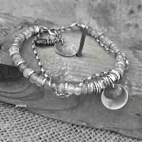 Kwarc szary - bransoletka 01 arvena srebro oksydowane, szary