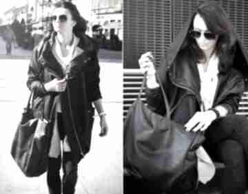 Czarny płaszcz oversize ogromny kaptur na jesień rozmiar xl