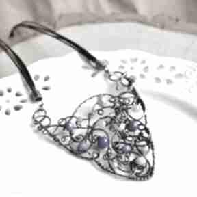 Blue statement - naszyjnik w błękitach z kryształkami szklanymi