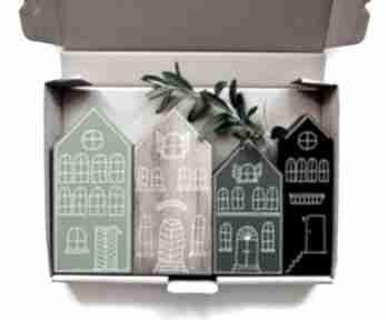 4 x domki malowane ręcznie dekoracje wooden love domki, malowane