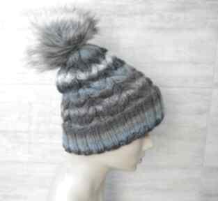 Gruba czapka zimowa z pomponem unisex czapki albadesign zimowa