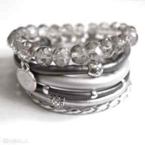 Set fifty shades of silver camshella rzemienie, swarovski