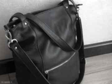 Duża skórzana torba z zamkami na ramię juti bags czarna torebka