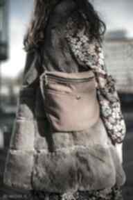 Duża nerka z flauszu camel nerki tasiemasie xxl, handmade