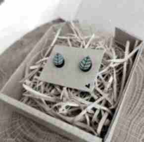 Kolczyki listki homemade by n sztyfty, listki, eco biżuteria