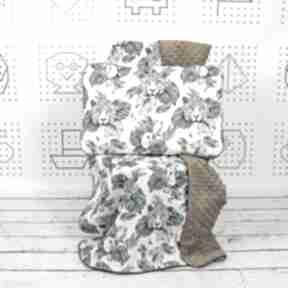 Zestaw kocyk i płaska poduszka gepard papugi pokoik dziecka