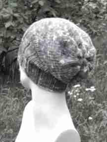 Czapka melanż 60% wool krasnal czapki aga made by hand fiolety