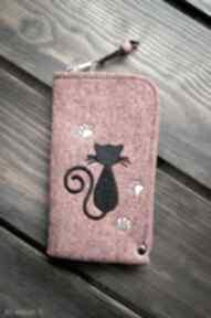 Filcowe etui na telefon - kotek happyart smartfon, pokrowiec