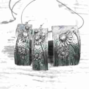 """letnia łąka - rumianek "" komplet biżuterii kameleon biżuteria"