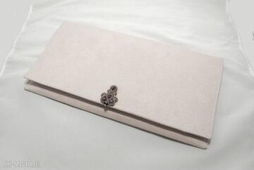 Torebka kopertówka z ozdobą sutasz sisu sznurek, pudrowy róż