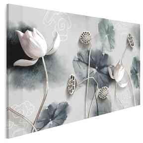 Obraz na płótnie - kwiaty atramentowy abstrakcja 120x80 cm 99101