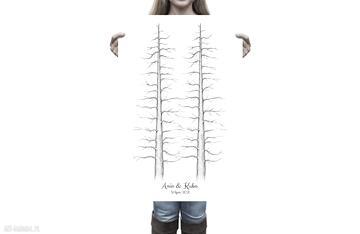 Plakat wpisów dwie sekwoje - 60x90 cm księgi gości kreatywne