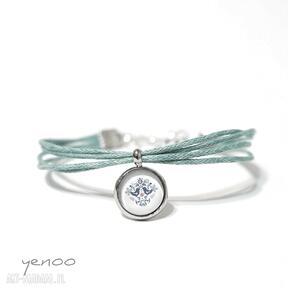 Bransoletka - folkowe ptaszki, niebieskie sznureczki, turkusowa