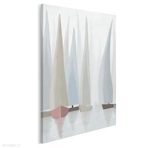 Obraz na płótnie - żaglówki regaty pastelowy w pionie 50x70 cm