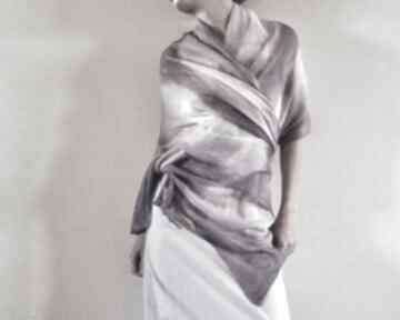 Elegancki lniany liliowy szal szaliki anna damzyn elegancki