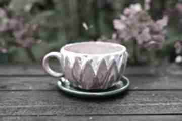 Filiżanka do herbaty różowa kawy kamionka lotos 250 ml ceramika