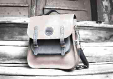 Duży skórzany plecak z wygodnym paskiem na ukos, torebka a ramię