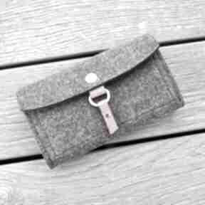 Filcowy portfel - grafit z miodową skórką mini beltrani portfel
