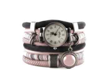 Zegarek - bransoletka z w stylu boho ceramiczną zawieszką