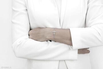 Bransoletka srebrna z kotwicą hold on to your values trzymaj się