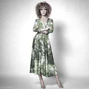 Amelia - dżungla rozkloszowana sukienka sukienki milita