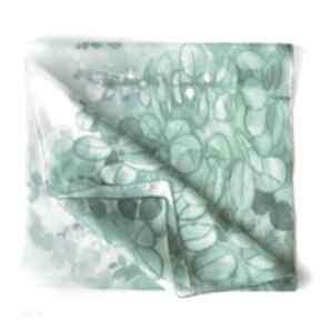 Zielony szal jedwabny z drzewkiem szczęścia chustki i apaszki