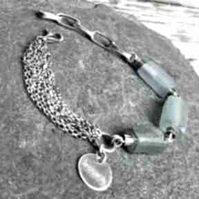 Bransoletka srebrna ze szkłem afgańskim treendy srebro, srebro