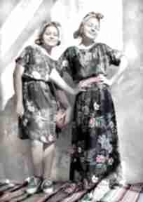 Sukienka granatowa w kwiaty maxi sukienki hanka sukienka, midi