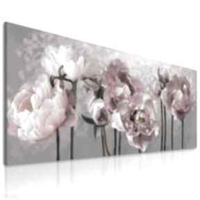 Obraz do salonu drukowany na płótnie z kwiatami, różowe kwiaty