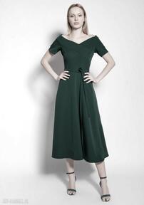 Sukienka trapezowa midi, suk181 zielony sukienki lanti urban