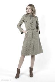 Navy green - żakietowa sukienka z grubej bawełny ozdobnym