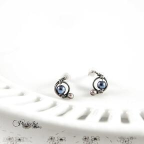 Mini hematyt blue - kolczyki sztyfty pracownia miedzi kolczyki