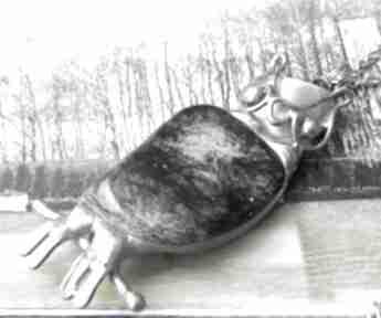 Naszyjnik: sowa z zielonym jaspisem naszyjniki witrazka wisiorek
