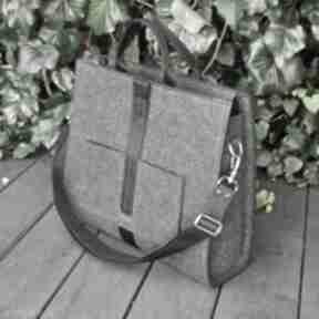 Designerska torba z filcu - grafitowa beltrani torebka filcowa