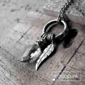 Kropleka z piórkiem - srebro i kwarc london blue naszyjniki