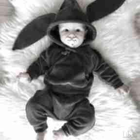 Szary komplet króliczek welur by libou handmade welurowy dresik
