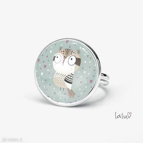 Pierścionek love owl laluv regulowany, sowa, miłość, mądrość,