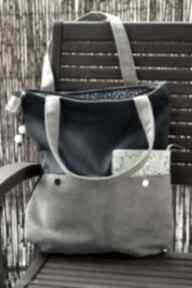 Szaro-granatowa torba z kieszenią na ramię happyart torba, hobo