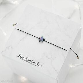 Bransoletka czarny sznureczek z gwiazdką hematytu ilovehandmade